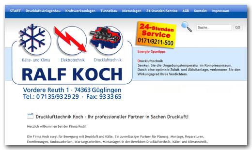 Website: Drucklufttechnik Koch, Güglingen