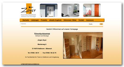 Website: Türenfachbetrieb Jürgen Zeyer, Heilbronn
